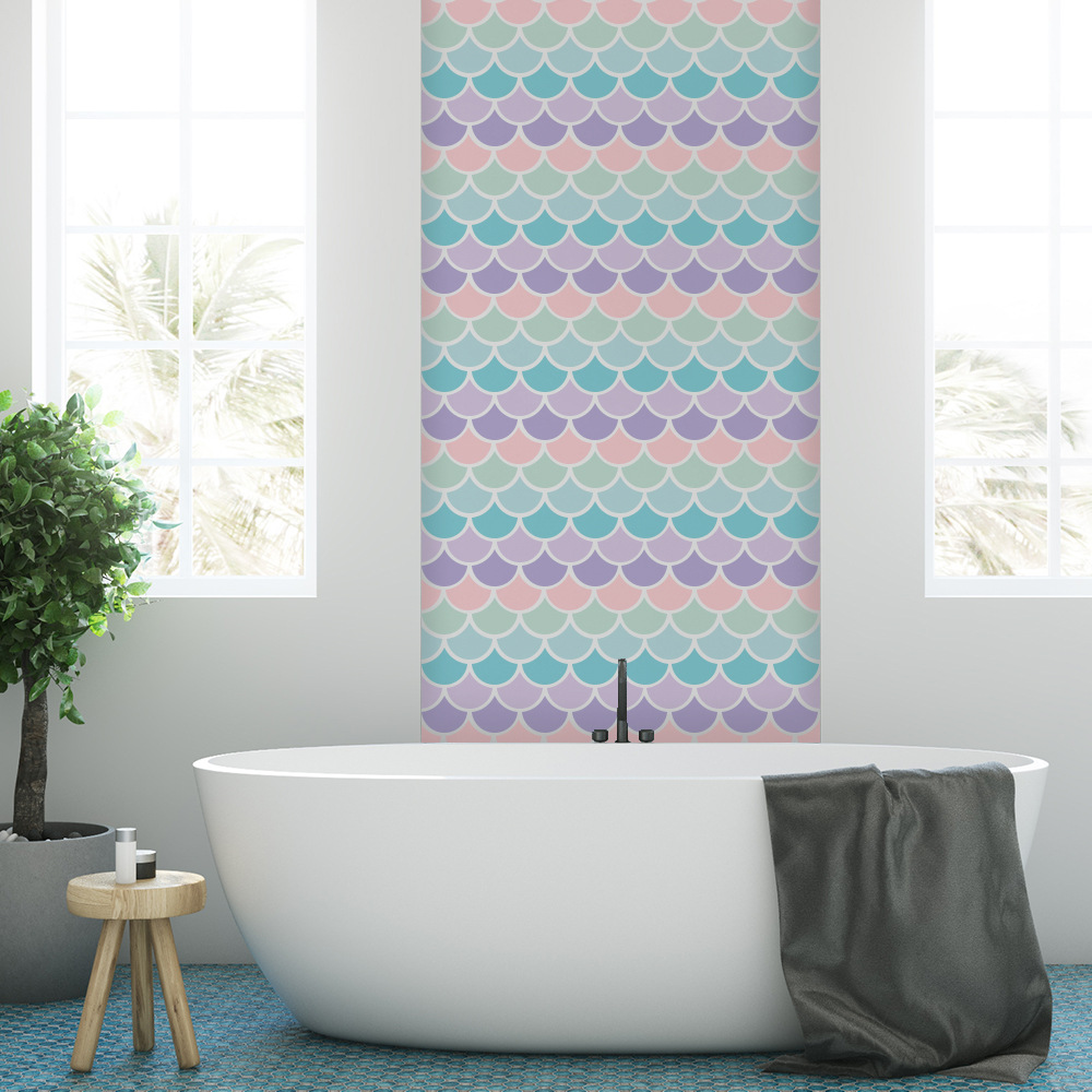 Ins estilo bonito dos desenhos animados peixe escala adesivos de parede diy colorido arte decalques de parede para quartos dos miúdos quarto casa banho decoração pa168