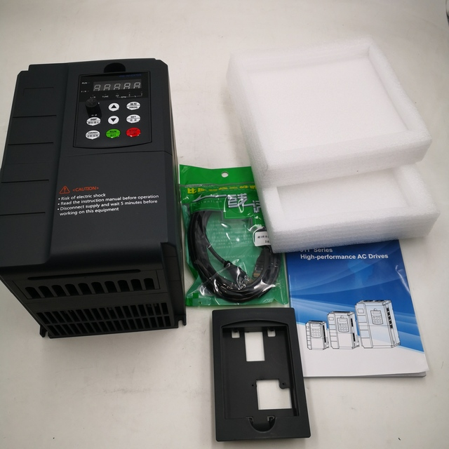 KNK VFD-onduleur 7,5kw 220V in et 380V   Monophasé, entrée électrique domestique 220V et sortie réelle triphasé 380V