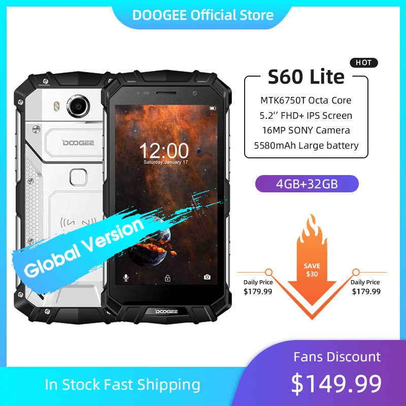 DOOGEE S60 Lite IP68 chargeur sans fil Smartphone 5580mAh 12V2A Charge rapide 16.0MP 5.2 ''FHD MTK6750T Octa Core 4GB RAM 32GB ROM