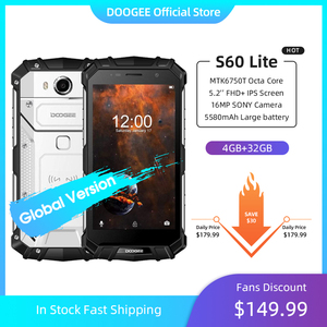 DOOGEE S60 Lite IP68 Wireless Charge Smartphone 5580mAh 12V2A Quick Charge 16.0MP 5.2'' FHD MTK6750T Octa Core 4GB RAM 32GB ROM