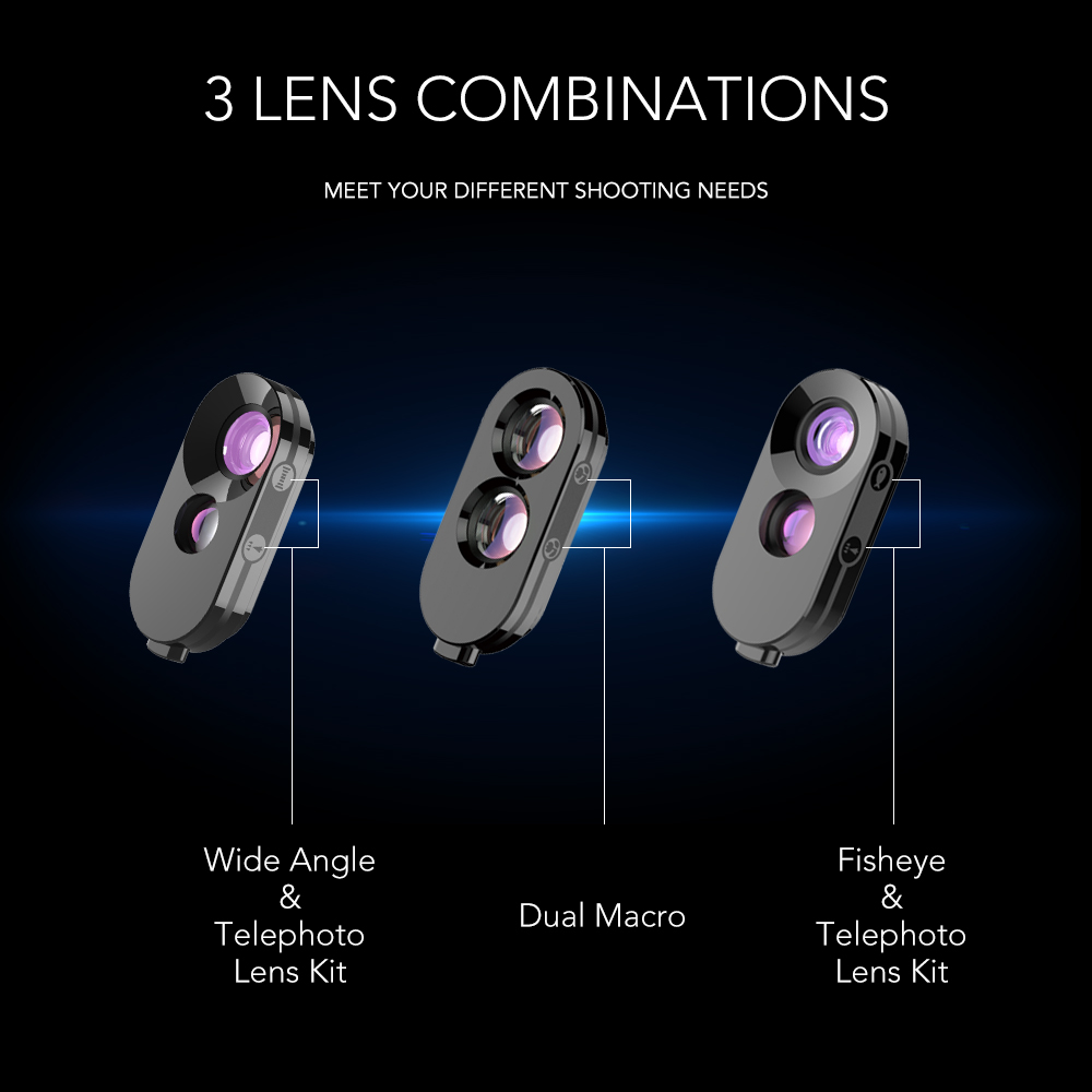 protection phone case For iPhone X XS max Dual Lenses phone camera lens kit fisheye wide macro telephoto zoom add-on lens