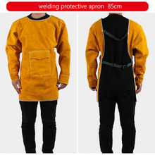 Welder Suits Leather Welding Jacket 85cm Long Welding Clothes Coat Anti scald Flame Resistant Welding Apron with Neck & Sleeves