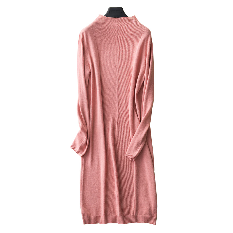 Haut de gamme 2019 automne hiver doux col haut robe en cachemire femme longue Section Pure cachemire tricot fond robe lâche Long pull