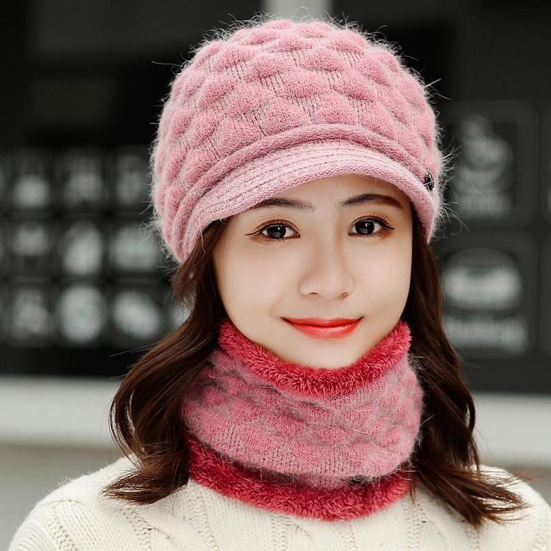 Women's Winter Hat And Scarf Set Two-Piece Women Wool Thicken Warm Set Female Ring Scarves Hats For Girls Unisex Beanie