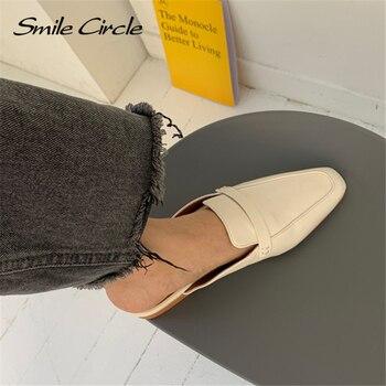 Smile Circle Summer Women Flat Shoes Slip-On Loafers Mules Flip Flops Minimalism Pointed Flat Heel Slipper Ladies sandals 3