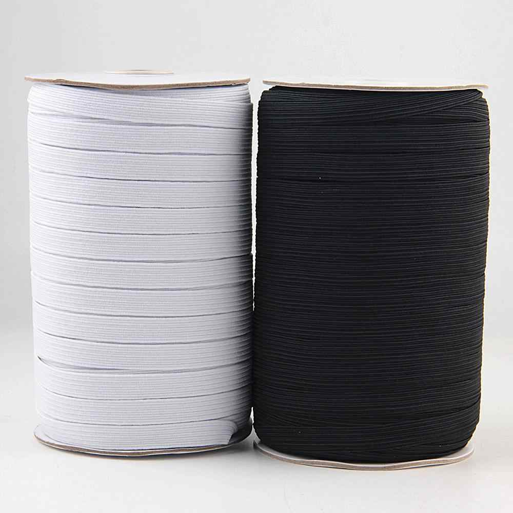 Banda elástica de costura de 3/6/8/10/12MM Cordón de goma elástica de poliéster blanco y negro para Ropa Accesorios de costura 5z