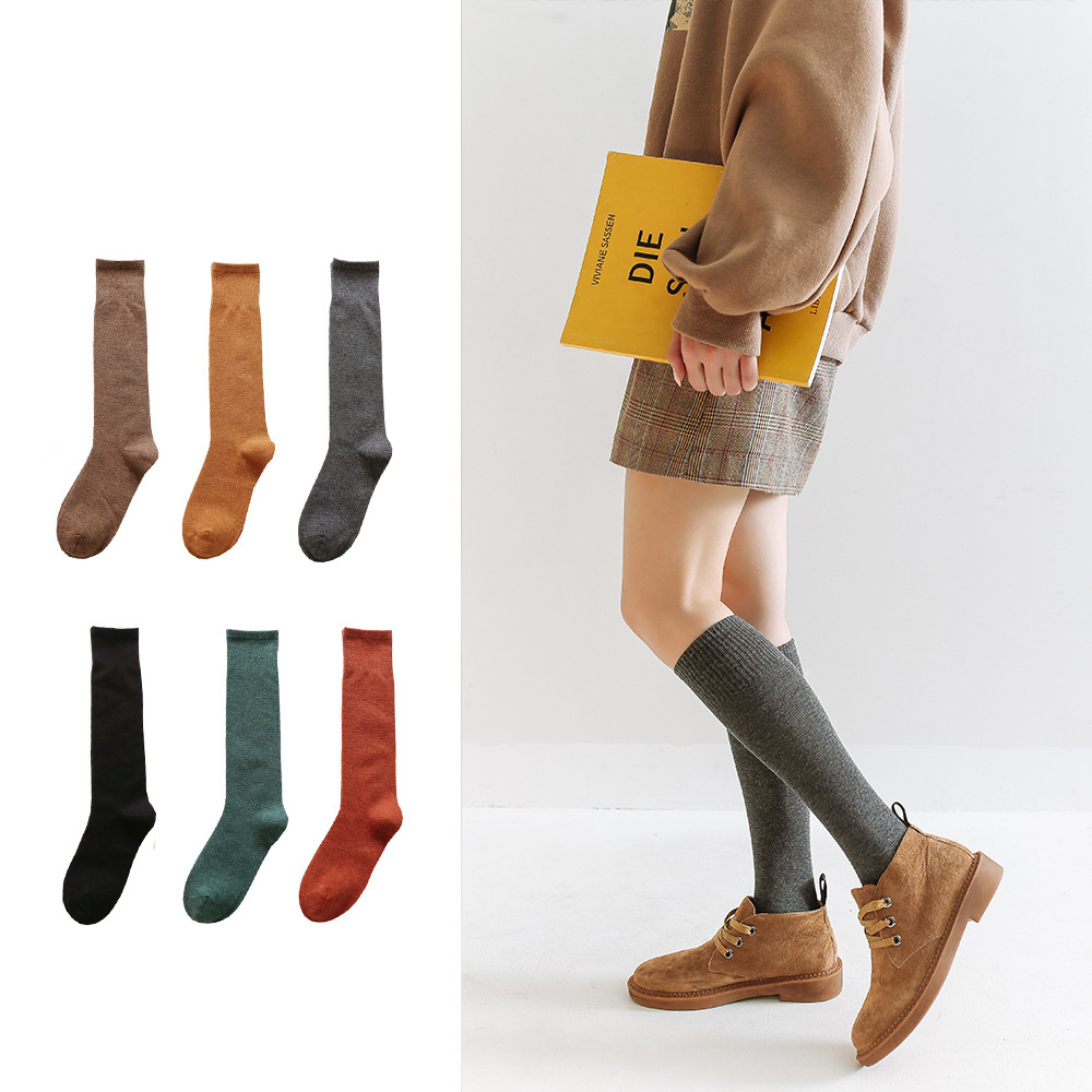 New Arrivl Women Cotton Socks Calf Socks Solid Color Female Autumn Winter Long Pile Socks Cotton Japanese Simple Socks G0910