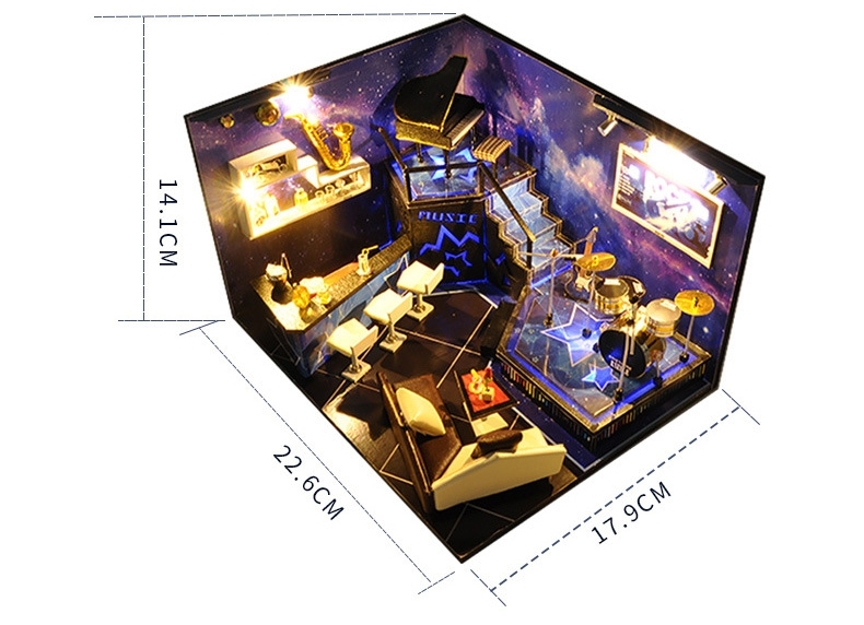 Let's Rock to the Stars DIY 3D Miniature Bar With Dust Cover