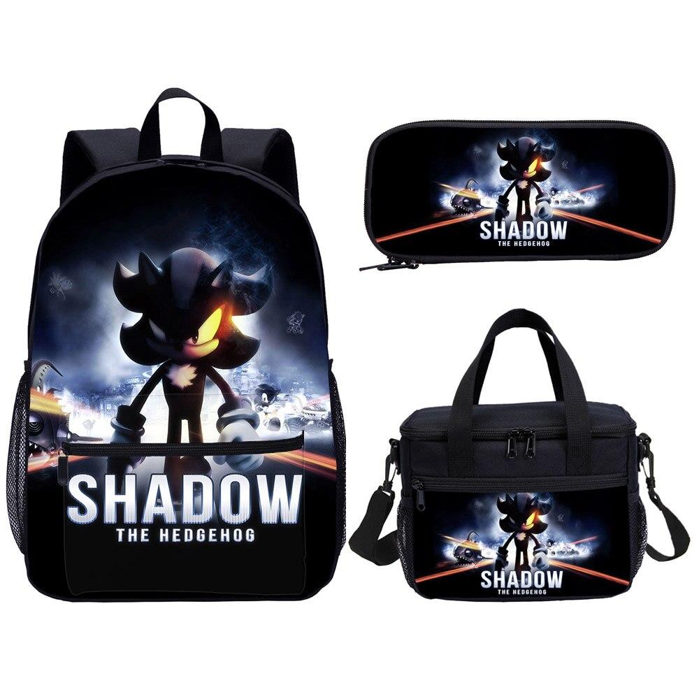 Sonic The Hedgehog kids school bag set 3 pcs anime print back bag school kids cartoon picture of school bag children best gift