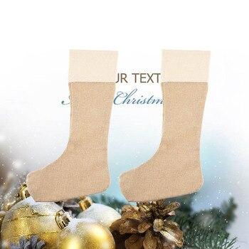 6 sztuk/zestaw duże juta torebki świąteczne juta Xmas Stocking zwykły kominek Decor Decoration