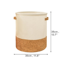 bucket cork leather splice laundry basket fabric waterproof clothing storage basket portable laundry basket(China)