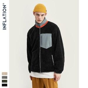 Image 4 - INFLATION Men Berber Fleece Winter Jacket Coat 2020 High Street Loose Fit Poler Fleece Men Coat High Collar Men Jacket 9744W