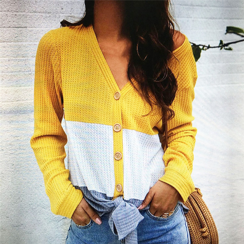 Winter Yellow Sweater Women Autumn Button Casual Sweater V-Neck Patchwork Color Cardigans Elegant Women Knitting Mujer