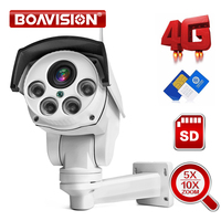 1080P 3G 4G PTZ telecamera per esterni SIM Card Bullet telecamera Wireless 5X / 10X Zoom Lens P2P telecamera di sorveglianza CCTV di sicurezza
