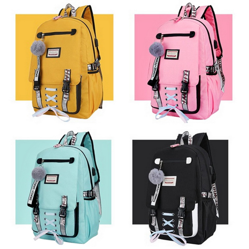 Bag Book-Bag Anti-Theft-Backpack Youth Teenage-Girls Large Women High-School For Usb