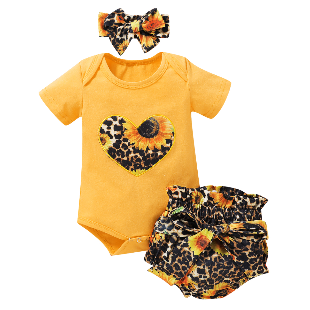 Pudcoco US Stock 0-18M Newborn Infant Baby Girls Clothes Sets Sunflowers Print Short Sleeve Romper Shorts Headband Girl 3PCs Set