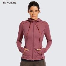 SYROKAN Women's Matte Brushed Full Zip Hoodie Jacket Sportswear Hooded Workout Jacket with Zip Pockets