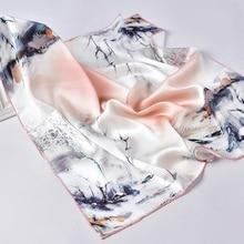 100% Realผ้าพันคอผู้หญิงดอกไม้พิมพ์ผ้าไหมซาตินผ้าพันคอHijab Square Luxuryยี่ห้อNeckerchiefผ้าพันคอผ้าพันคอสำหรับสุภาพสตรี