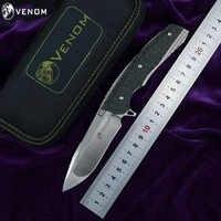 KEVIN JOHN KNIFE VENOM 2 M390 Blade Titanium Alloy+Carbon Fiber Handle Outdoor camping hunting Hunting pocket knives EDC tools