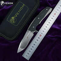 KEVIN JOHN couteau VENOM 2 M390 lame alliage de titane + poignée en Fiber de carbone extérieur camping chasse chasse couteaux de poche EDC outils