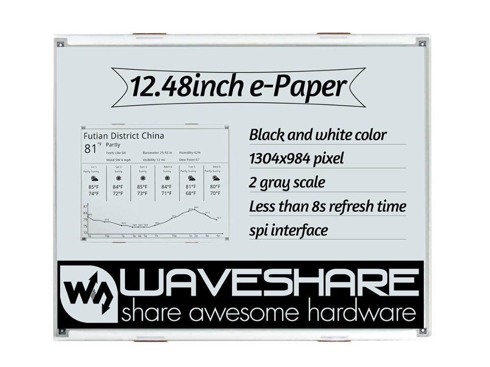 Waveshare 12.48inch E-Ink Raw Display, 1304×984 Resolution,black/white Dual-color, SPI Interface, Without PCB