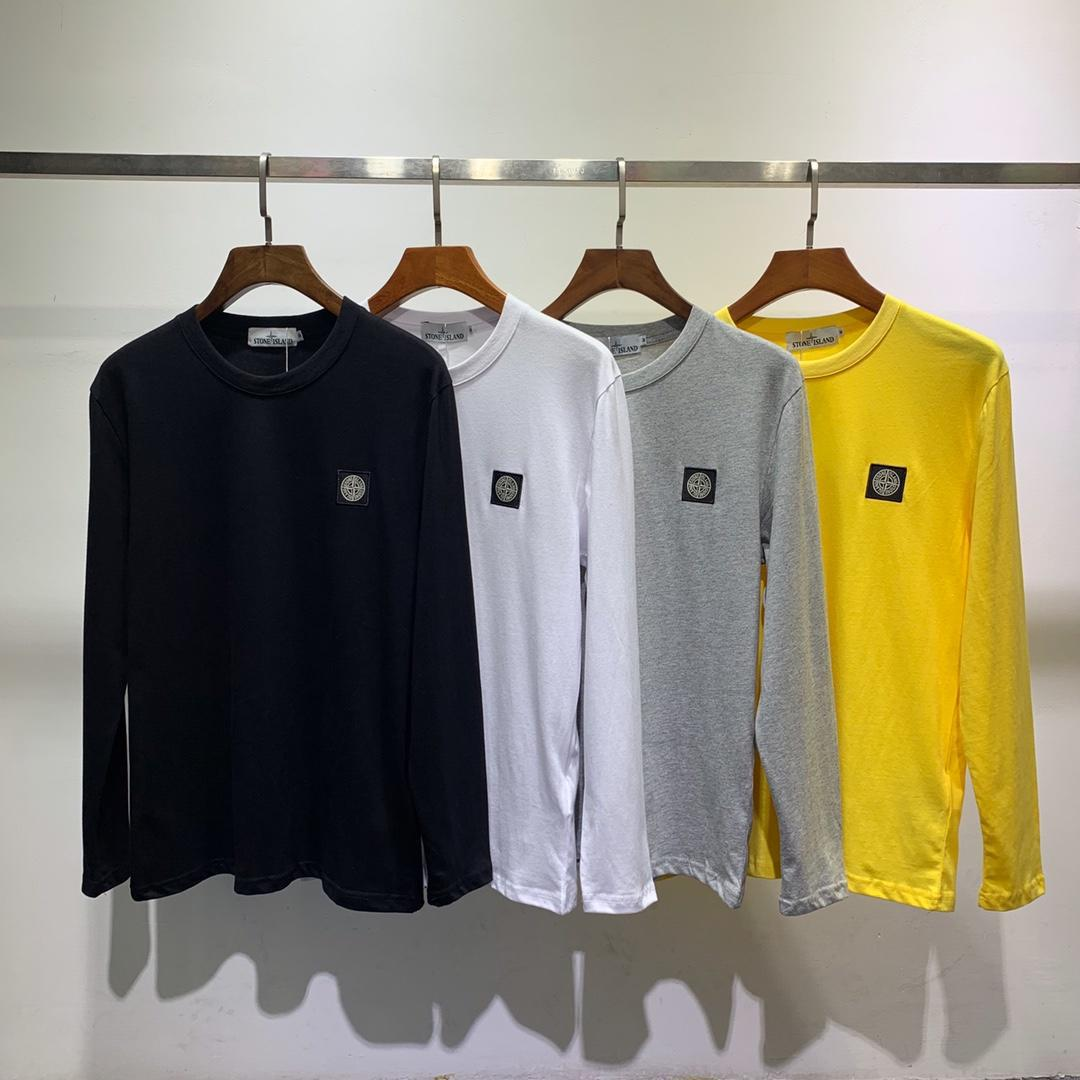 Popular Brand Stone Island Long Sleeve Shirt Party Logo Embroidered Men And Women Casual Loose-Fit Round Neck Sweater Shirt