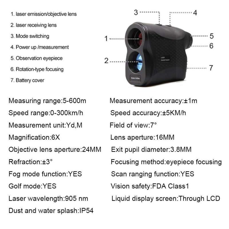 Laser rangefinder caça telescópio medidor de distância
