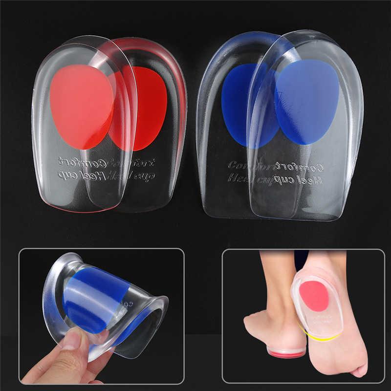 1 par de plantillas transparentes de Gel de sílice para hombres y mujeres suelas para aliviar el dolor de los pies protectores de apoyo de zapata de protección de talón