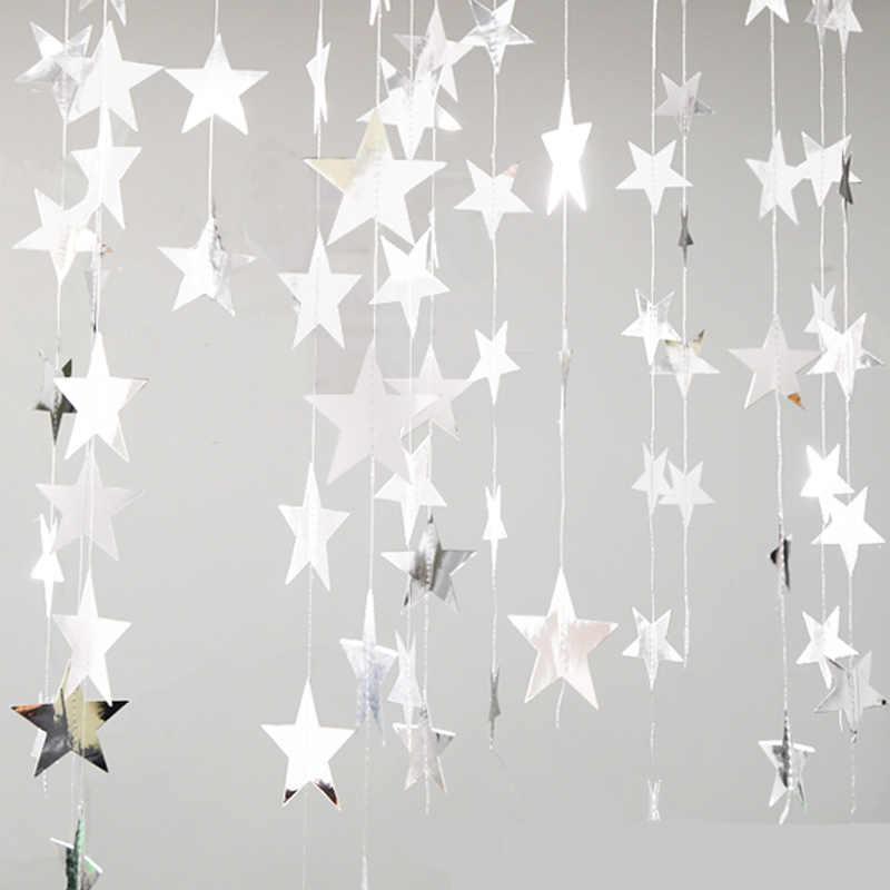 Miroir papier étoile bannière guirlandes 4M anniversaire chaîne chaîne bannière ornements rideau de mariage fête salle décor fournitures