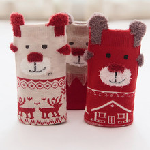 3 Pair Cute Baby Socks Kids Christmas Soft Warm Casual Box Unisex