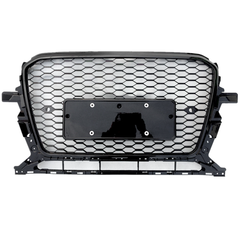 Honeycomb style front grille racing grills for 2013 2017 Audi Q5 upgrade Audi RSQ5 black frame black net silver logo|Racing Grills| |  - title=