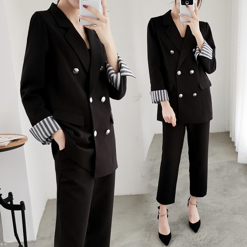Large Size XL-5XL Office Women's Suit Sets Pants Suit High Quality Autumn Black Jacket Suit Women's Slim Pants Two-piece Set