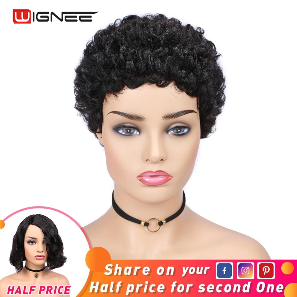 Wignee Short Remy Brazilian Human Hair Wig For Women Afro Kinky Curly Human Wig Natural Black Pixie Cut Wigs For Africa American