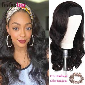 Fashion Lady Headband Wigs Human Hair Body Wave For Black Women 2020 Winter New Arrival Remy Brazilian Hair Wigs For Women