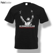 Khabib nurmagomedov alhamdulillah camiseta lutador homem preto shubuzhi nova marca de moda masculina t cor sólida manga curta