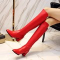 XJRHXJR/черные  красные  белые женские осенние ботинки женские ботинки на молнии с квадратным каблуком модные высококачественные сапоги до кол...