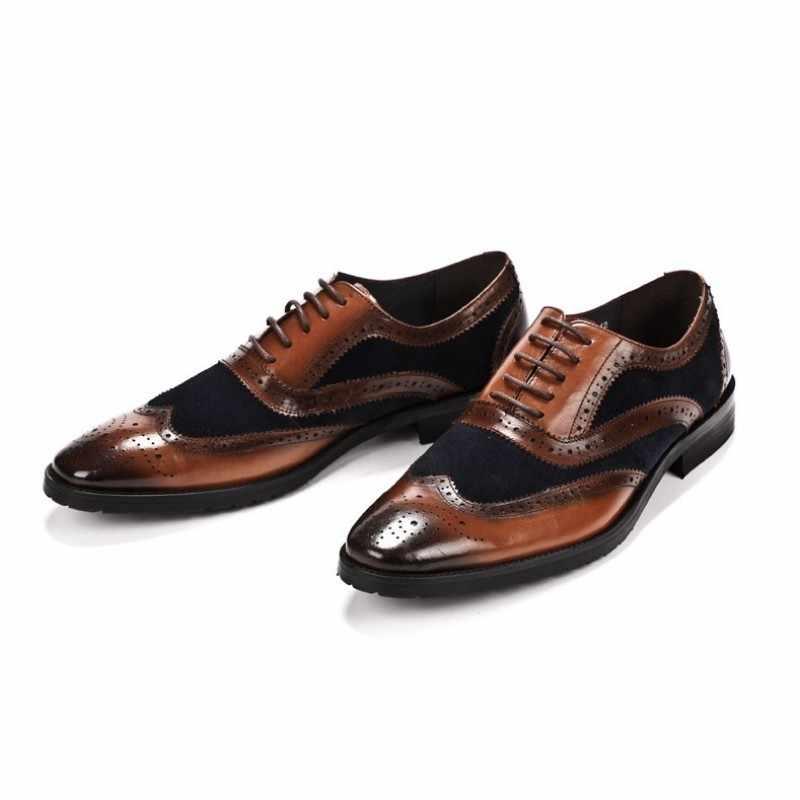 رجل جلود الأبقار الأصلية فستان أحذية مختلط الألوان الجناح تلميح البروغ أحذية إيطاليا اليدوية أشار تو الزفاف أكسفورد أحذية 2020