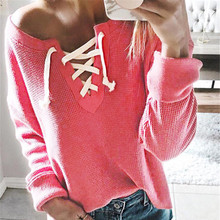 Fashion Lace Up T-Shirt Women Long Sleeve V-Neck Knitted Sweater Tops Tee Shirt Femme Casual Solid Bandage Pullovers T Shirts black casual v neck side lace up long sleeves t shirt