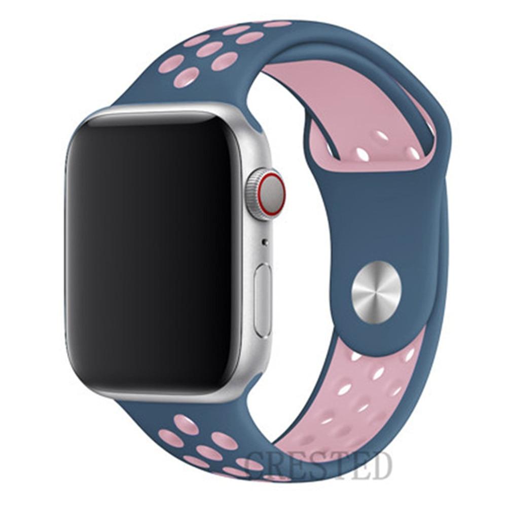 Спортивный ремешок для apple watch band 44 мм/40 мм apple watch 5 4 3 band iwatch band 5 42 мм/38 мм correa браслет ремень аксессуары для часов - Цвет ремешка: blue pink 12