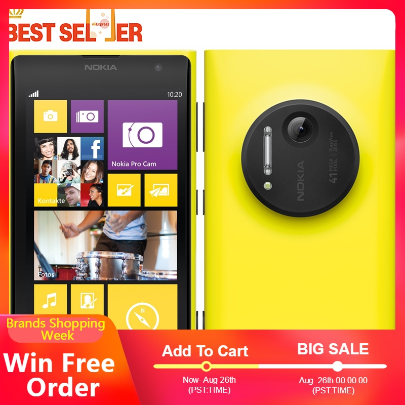 Original Unlocked Smartphones Nokia Lumia 1020 Windows Phone 32GB Camera 41MP GPS Wifi 4.5 inch Screen Nokia L1020 Mobile Phones-in Cellphones from Cellphones & Telecommunications    1