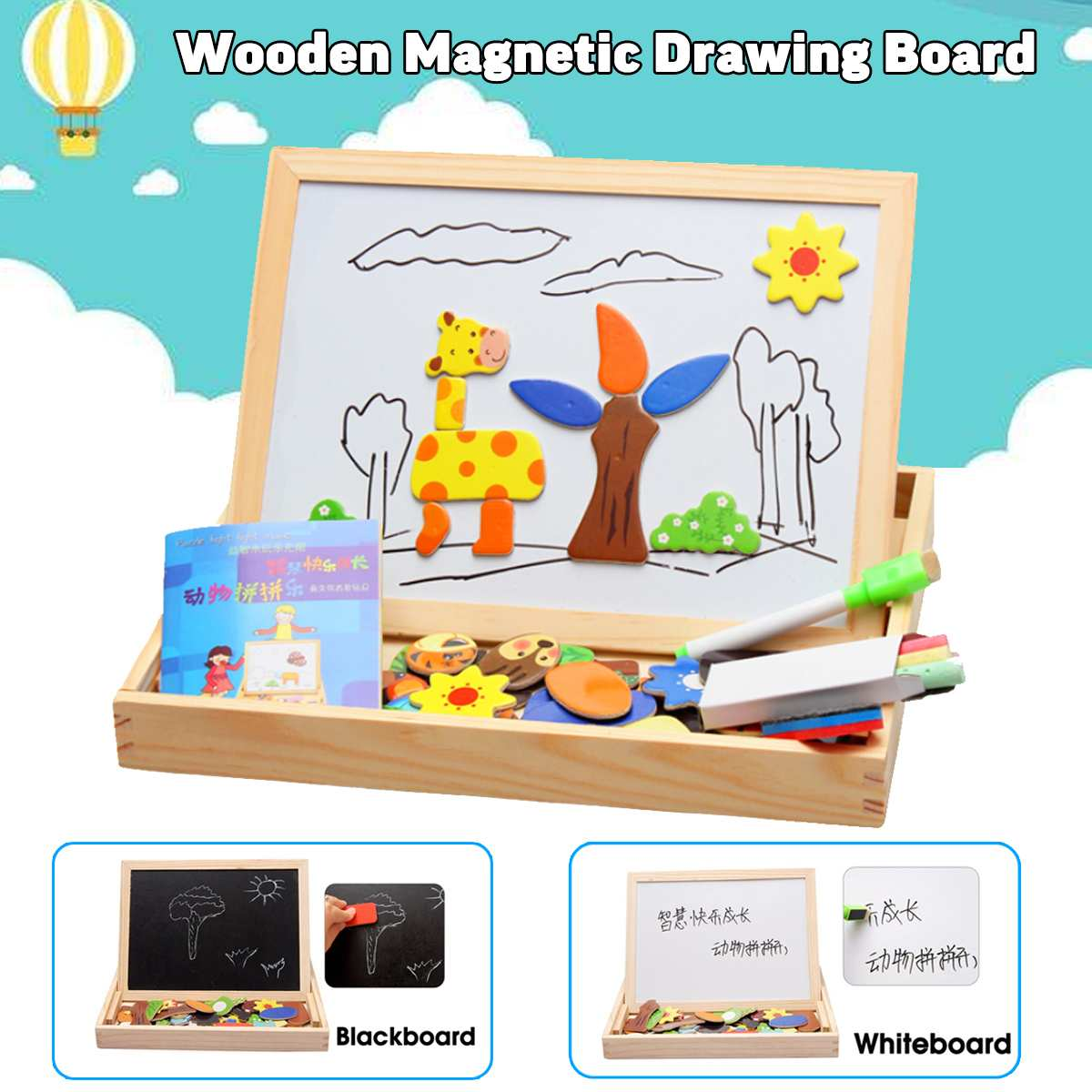 KICUTE Wooden Magnetic Whiteboard Puzzle Toys Kids Early Educational Learning Wooden Easel Drawing Board Animal Jigsaw Board Set