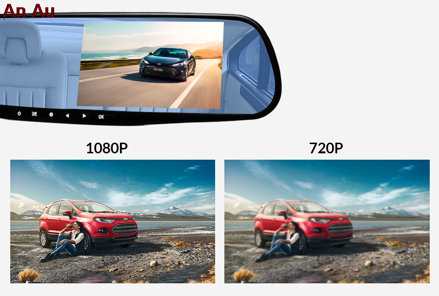 <font><b>Car</b></font> <font><b>DVR</b></font> Driving Recorder <font><b>Mirror</b></font> <font><b>Car</b></font> <font><b>Dvr</b></font> Camera 3.5 Inch HD 1080P Digital Video Recorder Dual Lens Automatic Driving Recorder image