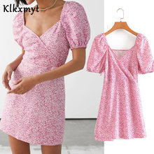 Klkxmyt summer za dress women ins fashion blogger vintage puff sleeve vestidos de fiesta de noche vestidos party mini dress(China)