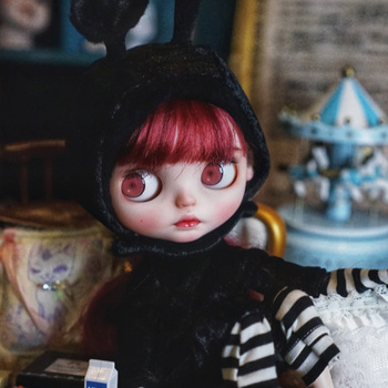 1/6 blyth doll toy bjd joint body white with skin with Wine red hair makeup doll with 19joint body makeup face handmade doll