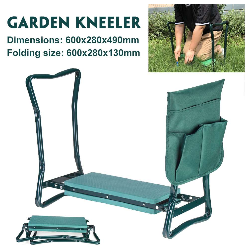 150kg Load Garden Kneeler With Handles Folding Stainless Steel Garden Stool With EVA Kneeling Pad Gardening Gifts Supply