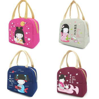 Multifunction Cute Girl Lunch Bag Convenient Carrying Thick Insulation Lunch Box Waterproof Oxford Cloth Picnic Bag Practical