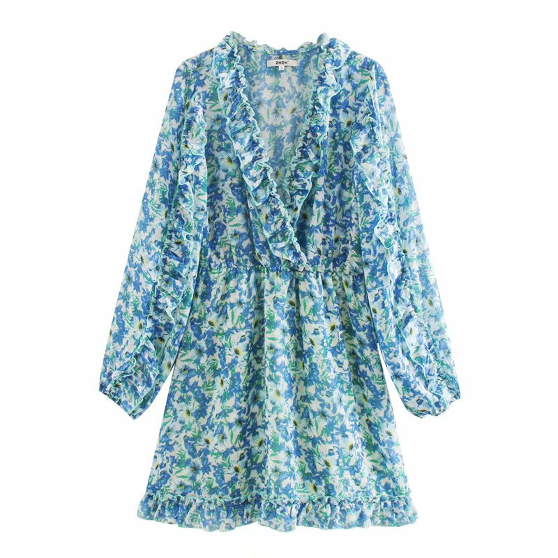 New Women Cross V Neck Floral Print Casual Kimono Mini Dress Female Long Sleeve Agaric Lace Vestidos Chic Ruffles Dresses DS3514
