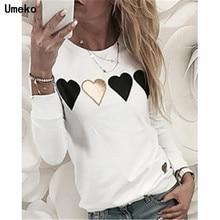Umeko New Spring Autumn Solid Print love Heart O-Neck Long Sleeve