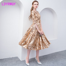 2019 new party tight-fitting gold female mid-length dress Zippers  Ankle-Length Regular Solid Sheath