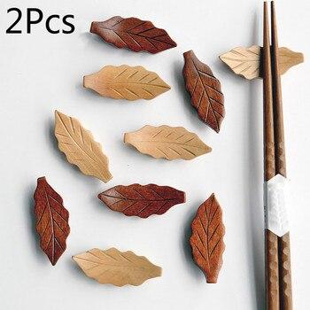 2 uds. Palillos de madera en forma de hoja soporte de cuchillo soporte cuchara resto tenedor estante marco arte artesanía cena accesorios de vajilla de cocina
